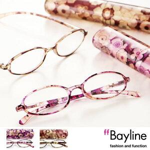 Bayline/ベイライン リーディンググラス(老眼鏡)★オーバル型フレームのフラワーアートデ…