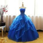プロムドレスカラードレス花嫁パーティードレス結婚式ステージ衣装コンサート披露宴ティアードロングドレス