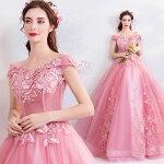 パーティードレス演奏会用ロングドレスプロムドレスカラードレス二次会花嫁結婚式コンサートステージ衣装カラードレス