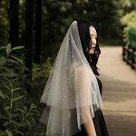ラブストーリーウェディングベールおうべい設計結婚式披露宴ロングベールシンプルチュール1.5メートル透明感手作りベールベールダウンベールアップオフホワイトふんわり優雅ビンテージ海外撮影旅行結婚撮影道具