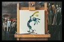 不思議なココペリ-地球の角笛-(額縁なし A4サイズ)開運 アート 絵画 癒やし 人脈 仲間 幸運