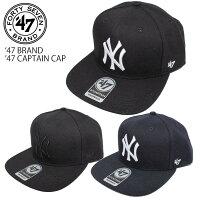 あす楽47BRANDヤンキースフォーティーセブンブランド平つばキャプテンキャップ47CAPTAINCAP帽子yankees正規品フラットバイザープライド定番シルエットメンズレディースブラックネイビー