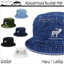 ALASCA 16-17 バケット ハット Moose メンズ レディース Alasca Moose BucketHat デニム 迷彩 カモフラ キャップ 「メール便送料無料」 alaska アラスカ