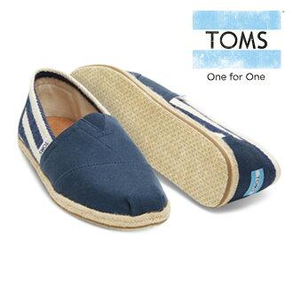 湯姆懶漢鞋麻底帆布鞋女士CLASSICS NAVY STRIPE UNIVERSITY