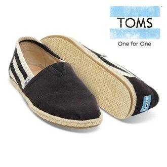 湯姆懶漢鞋麻底帆布鞋女士CLASSICS BLACK STRIPE UNIVERSITY