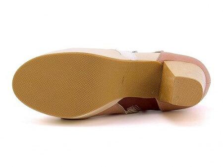 ブーティレディース歩きやすいストラップ付き厚底プラットフォーム美脚サイドジップ太ヒールヨースケYOSUKE2600362ホワイト