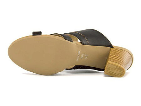 ミュールサンダル太ヒール歩きやすい疲れないレディースクロスベルト美脚クッション性EEカジュアルデイリートレンドラスピーニRaspini7559ブラック