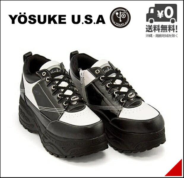 厚底 スニーカー メンズ サイドジップ 軽量 カジュアル デイリー トレンド ストリート ヨースケ YOSUKE 2808015 ブラック/ホワイト