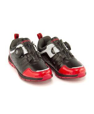 ランニングシューズ スニーカー 女の子 男の子 キッズ 子供靴 運動靴 通学靴 ダイヤル クッション性 カジュアル デイリー スポーツ スクール 学校 イナフ ENOUGH EN-030 ブラック/レッド