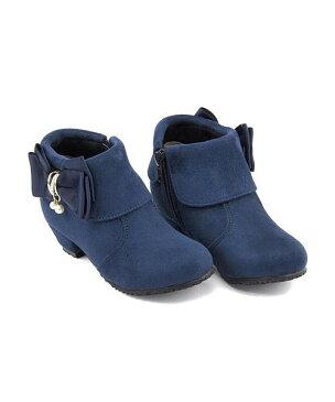 ブーティ 女の子 キッズ 子供靴 運動靴 通学靴 リボン付き クッション性 カジュアル デイリー スポーツ スクール 学校 スイートジェリー Sweet Jelly 180013 ネイビー