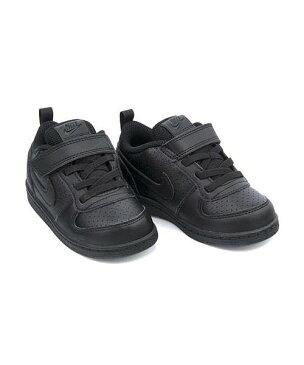 ナイキ ベビーシューズ スニーカー 女の子 キッズ 子供靴 運動靴 通学靴 コートバーロウLOWSLTDV ゴム紐 ストラップ クッション性 カジュアル デイリー スポーツ スクール 学校 COURT BOROUGH LOW SL TDV NIKE AV3172 ブラック/ブラック