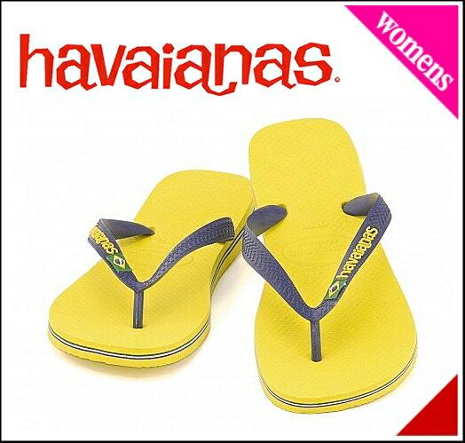 ハワイアナス ビーチサンダル レディース ブラジル ロゴ クッション性 耐久性 ファッション性 ぺたんこ カジュアル デイリー タウン トラベル リゾート BRAZIL LOGO havaianas 4110850 シトラスイエロー画像