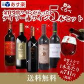 金賞受賞入り デイリー赤ワイン 5本セット 送料無料 あす楽対応