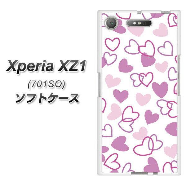 Xperia XZ1 701SO TPU ソフトケース / やわらかカバー【VA928 ハートがいっぱい パープル 素材ホワイト】 UV印刷 シリコンケースより堅く、軟性のあるTPU素材(エクスペリア XZ1 701SO/701SO/スマホケース)