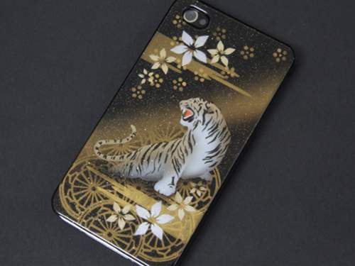 iPhone4s/IPHONE4 エアーブラシ ケース/カバー 第一節魅惑 (虎と水車)作品と呼べる一品。デザイ...