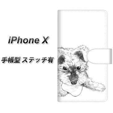 Apple iPhone X 手帳型スマホケース 【ステッチタイプ】【YJ188 シュナウザー 手描き 子犬 犬 かわいい】(アップル アイフォンX/IPHONEX/スマホケース/手帳式)