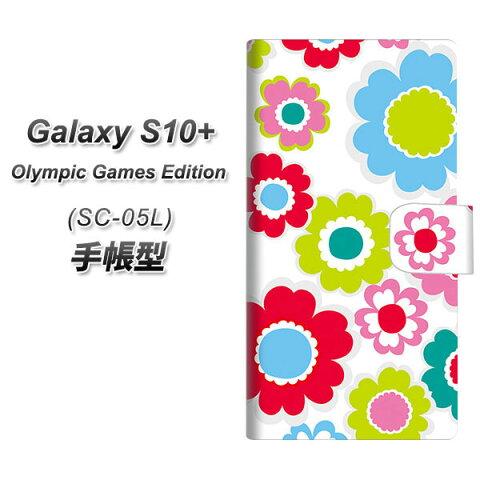 docomo Galaxy S10+ SC-05L 手帳型 スマホケース カバー 【SC827 ピクニックフラワー】