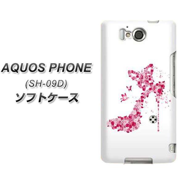 docomo AQUOS PHONE ZETA SH-09D やわらかケース(TPU ソフトケース)【387 薔薇のハイヒール(素材ホワイト)】シリコンケースより堅く、軟性のある優れたスマホケース TPU素材(アクオスフォン/SH09D)