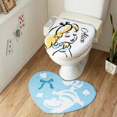 【Disney/ディズニー】不思議の国のアリス☆トイレ蓋カバー(温水便座用)&トイレマット2点…