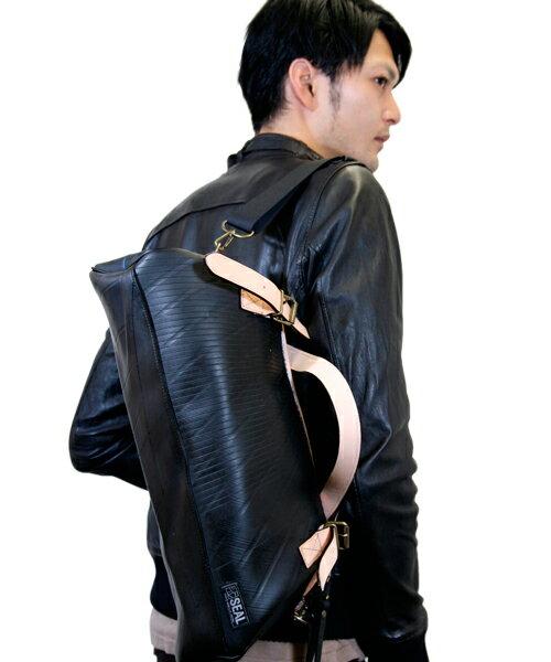 【先着イベント開催中!】 ボストンバッグ メンズ SEAL シール 大型 旅行 防水 廃タイヤ タイヤチューブ 人気 日本製 黒 プレゼント