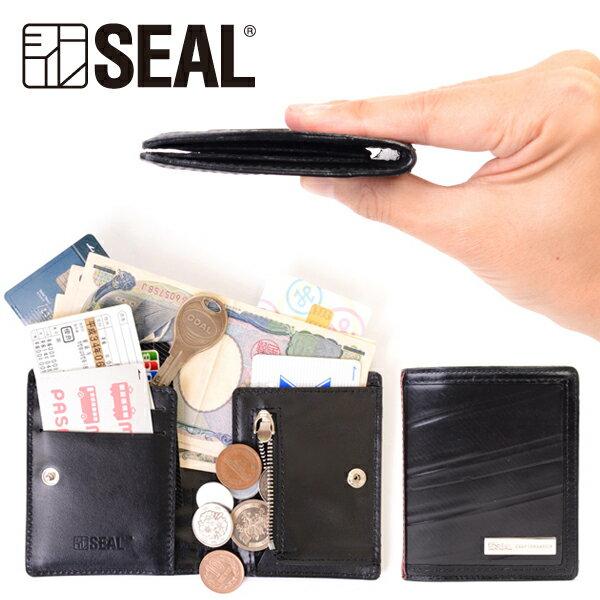 【P10倍 10/15限定】 スマートウォレット メンズ 二つ折り 財布 コインケース SEAL シール 財布 防水 廃タイヤ タイヤチューブ 人気 日本製 黒 プレゼント
