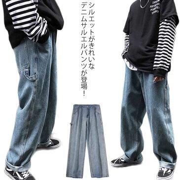 デニムパンツ ロング丈 ワイドパンツ メンズファッション ボトムス カジュアル 大きいサイズ ゆったり お洒落 新作 春夏秋