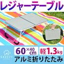 アルミ製レジャーテーブル折りたたみタイプ60cm×40cmピクニックキャンプ運動会バーベキューBBQお花見用テーブル携帯用取っ手付き