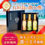 敬老の日ギフトしまのす 飲む酢 送料無料 200ml ギフト3本セット パインリンゴ シークヮーサー 生姜&レモン とまと 請福酒造