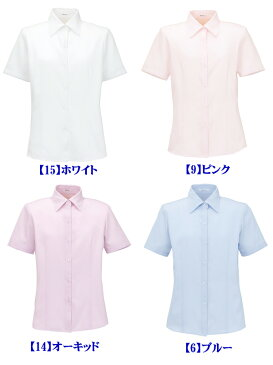 やさしい色合いのシャツカラータイプ半袖ブラウス【RB4531 ボンマックス】〜見た目にもきれいなフレンチツイルのブラウスです〜