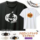 【 今なら 送料無料 】ハロウィン Tシャツ マスク セット【 ハロウィン ハロウイン ハロウィーン Halloween Hallowe'en Tシャツ &マスクセット】 【 Tシャツ2色 マスク4柄 から 選べる 120cm~LL メンズ レディース サイズ 子供 キッズ 】<tshalloweensetd>