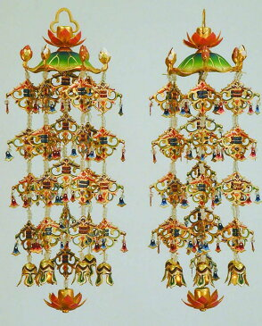 仏具 真鍮蓮傘 瓔珞 白玉淡彩色 消金メッキ・特大(6号)1対