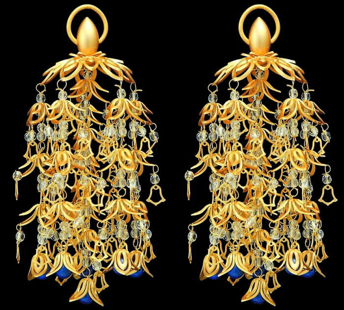 仏具 真鍮 透し華瓔珞 ラピス仕立消金メッキ・大(5号)1対:熊野古道仏壇センター