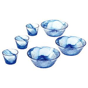 東洋佐々木ガラス 【お取り寄せ可能】 そうめん鉢セット 流蒼 食洗機対応 6個セット (中鉢)φ19×7cm (つゆ鉢)φ9.2×6.5cm G097-B71