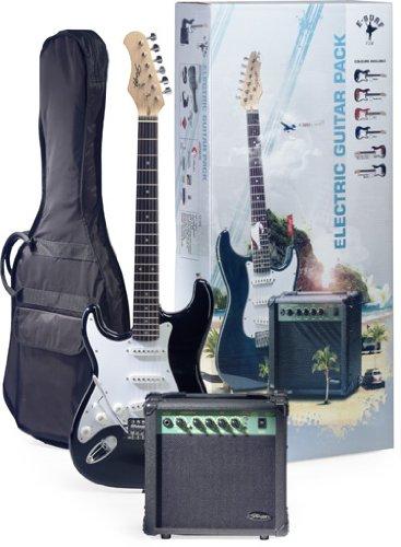 【Stagg スタッグ ESURF 250LHBK US Surfstar レフトハンドモデル レフティ 左利き エレキギター and アンプ アンプリファー Package - Black エレキギター エレクトリックギター (並行輸入)】     b005ra3two:生活総合倉庫