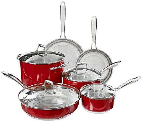 【KitchenAid KCSS10ER Stainless Steel 10-Piece Cookware Set - Empire Red by KitchenAid】     b00hffdvn6:生活総合倉庫
