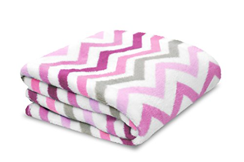 【Little Starter Plush Toddler Blanket Pink Chevron by Little Starter】 b00t75vrro