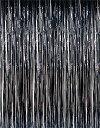 【送料無料】【Super Z Outlet メタリックブラックホイルフリンジ輝くカーテン 3 nbsp;x 8フィート】 b0143ei4ds