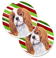 【Caroline 's Treasures Cavalier Spaniel Candy Cane Holidayクリスマス2カップホルダー車コースターのセットsc9354carc、2.56、マルチカラー】 b01mpxoog0[生活総合倉庫 楽天市場店]