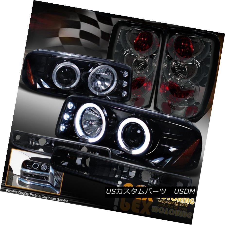 ヘッドライト 2000-2006 GMC Yukon Halo Dark Shiny Black Head Light + Signal + Smoke Tail Lamps 2000-2006 GMC Yukon Haloダークシャイニーブラックヘッドライト+シグナル+スモークテールランプ