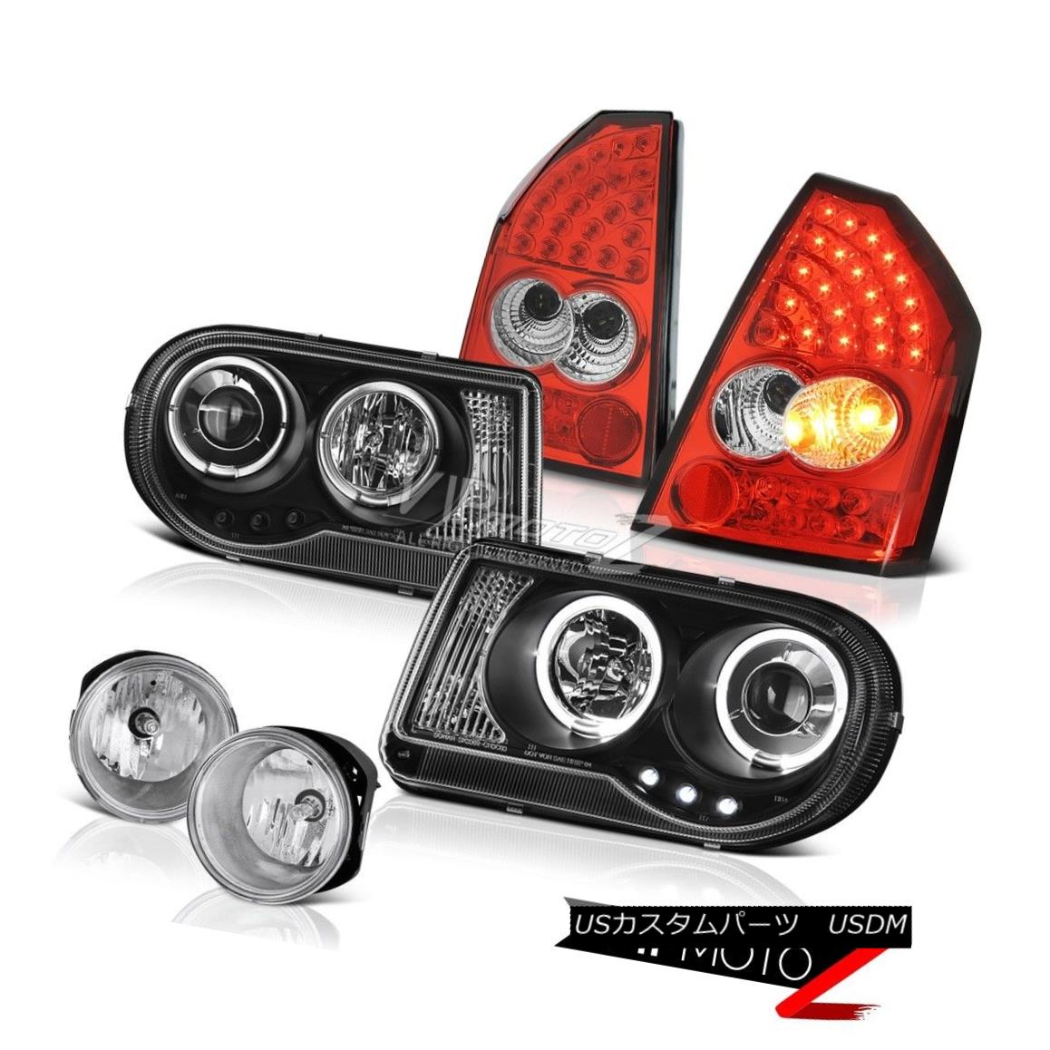 2005 2006 2007 Chrysler 300c 6 1l Crystal Headlights Smoke: ヘッドライト Black Angel Eye Headlight Tail Lights Driving オンライン