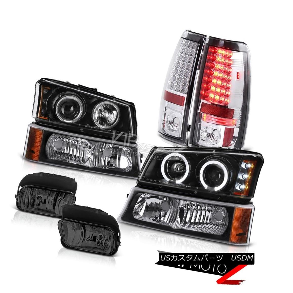 SMOKE HEADLIGHT+CLEAR CORNER+SMOKE BLACK 3D LED BRAKE TAIL LIGHT FIT 02-05 RAM