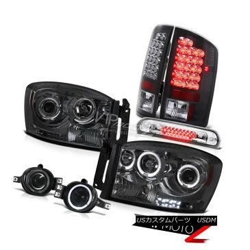 ヘッドライト 07 08 Dodge Ram Smoke Halo Headlights Black Brake Tail Lights Foglights Roof LED 07 08ダッジラムスモークヘイローヘッドライトブラックブレーキテールライトフォグライトルーフLED