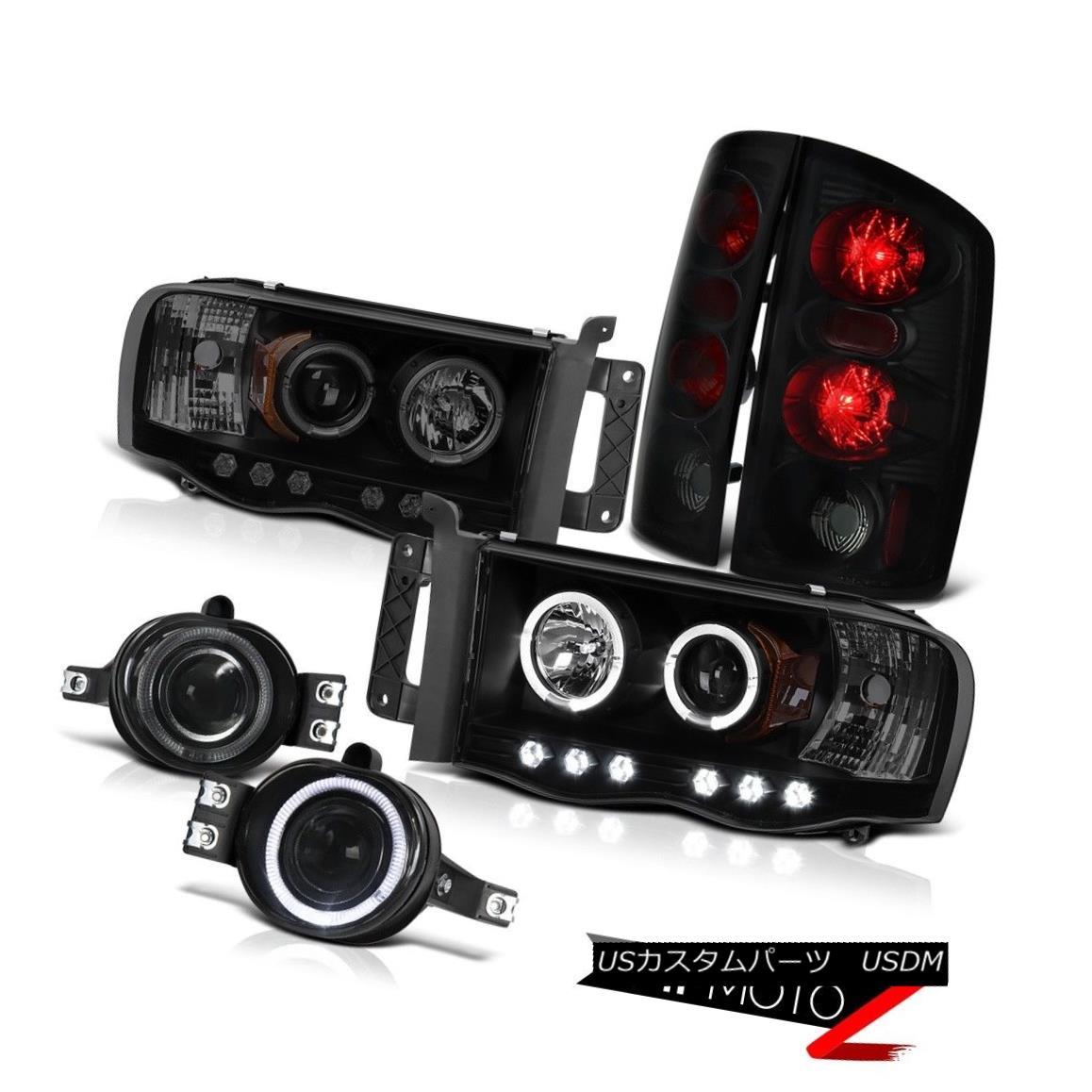 ヘッドライト 2002-2005 Dodge Ram SLT Projector Dark Angel Eye Headlight Sinister Black Tail 2002-2005ダッジ・ラムSLTプロジェクターダーク・エンジェル・アイヘッドライト・シニスター・ブラック・テール画像