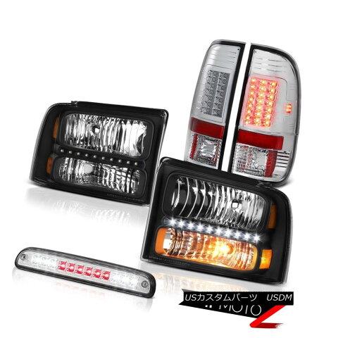 ヘッドライト 2005-2007 F350 Turbo Diesel Black Headlights Lamps Chrome Tail Third Brake LED 2005-2007 F350ターボディーゼルブラックヘッドライトランプクロムテール第3ブレーキLED
