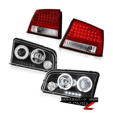 ヘッドライト 2009 2010 Charger 3.5L CCFL Halo Ring Black Head Lamp Light Chrome LED Taillight 2009 2010チャージャー3.5L CCFLハローリングブラックヘッドランプライトクロームLEDテールライト