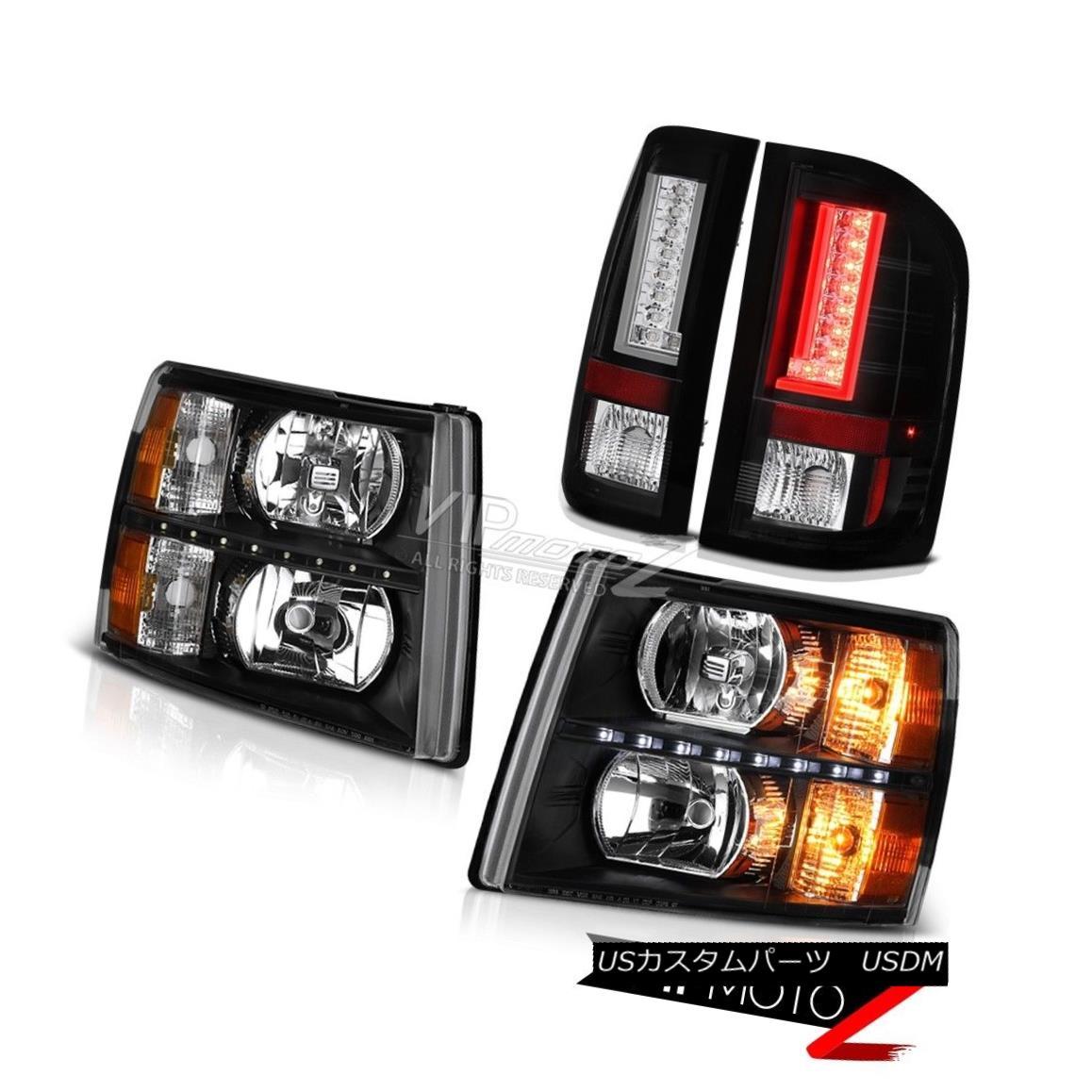 ヘッドライト 07 08 09 10 11 12 13 Silverado 1500 Nighthawk Black Headlamps LED DRL OE Style 07 08 09 10 11 12 13シルバラード1500ナイトホークブラックヘッドランプLED DRL OEスタイル画像