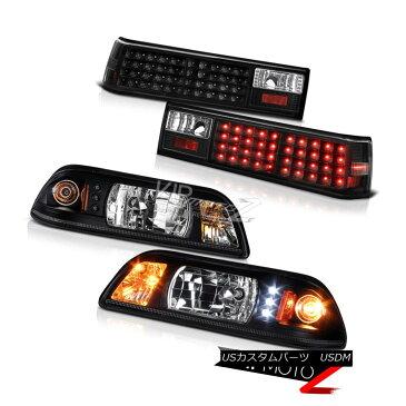 ヘッドライト Ford Mustang 87-93 Black LED Headlight+Corner Signal Lamp + Tail Light Combo Set フォードマスタング87-93ブラックLEDヘッドライト+トウモロコシ erシグナルランプ+テールライトコンボセット