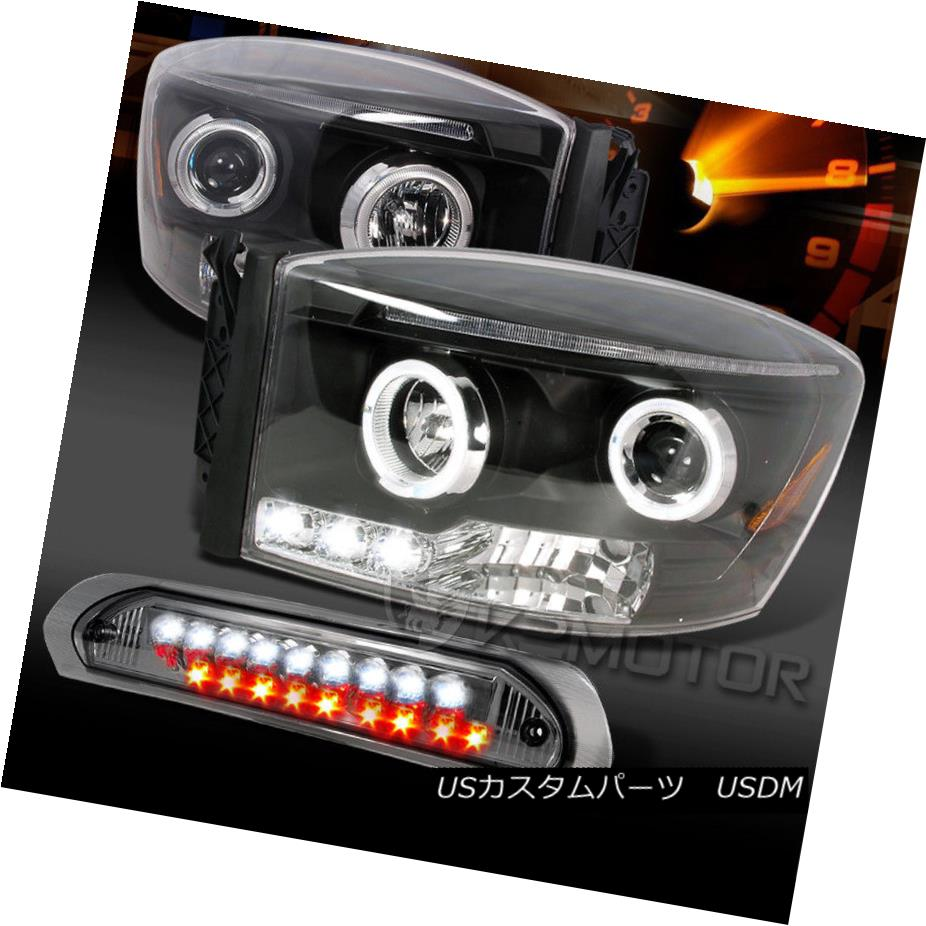 Fit Smoked 2006 2007 2008 Dodge Ram 1500 2500 3500 Halo LED Projector Headlights