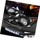 ヘッドライト For 2005-2006 Toyota Camry Crystal Black Headlights+White 8-LED DRL Fog Lamps 2005-2006トヨタカムリクリスタルブラックヘッドライト+ Whi 8-LED DRLフォグランプ