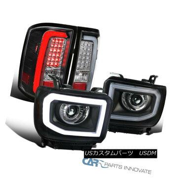 ヘッドライト GMC 14-16 Sierra Black LED Projector Headlights+C Shape LED Tail Brake Lamps GMC 14-16シエラ・ブラックLEDプロジェクター・ヘッドライト+ C形状LEDテール・ブレーキ・ランプ